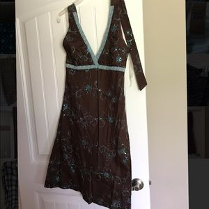 Dresses & Skirts - Brown & turquoise w/turquoise sequins halter dress